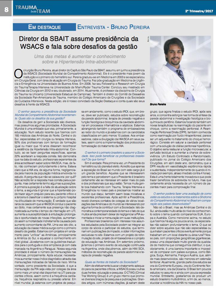 Diretor da SBAIT assume precidência da WSACS