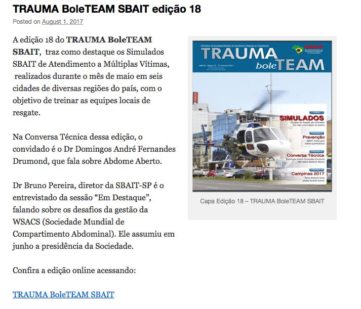 Trauma BoleTEAM SBAIT edição 18